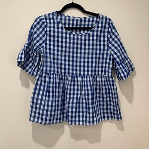 SHEIN Blue and White Gingham Top Size L